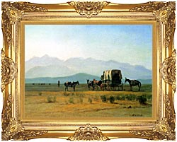 Albert Bierstadt Surveyors Wagon In The Rockies canvas with Majestic Gold frame