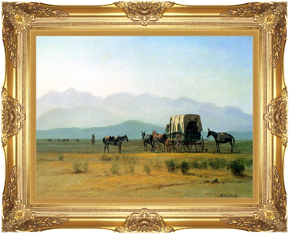 Albert Bierstadt Surveyor's Wagon in the Rockies with Majestic Gold Frame