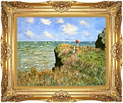 Claude Monet Walk On The Cliff At Pourville canvas with Majestic Gold frame