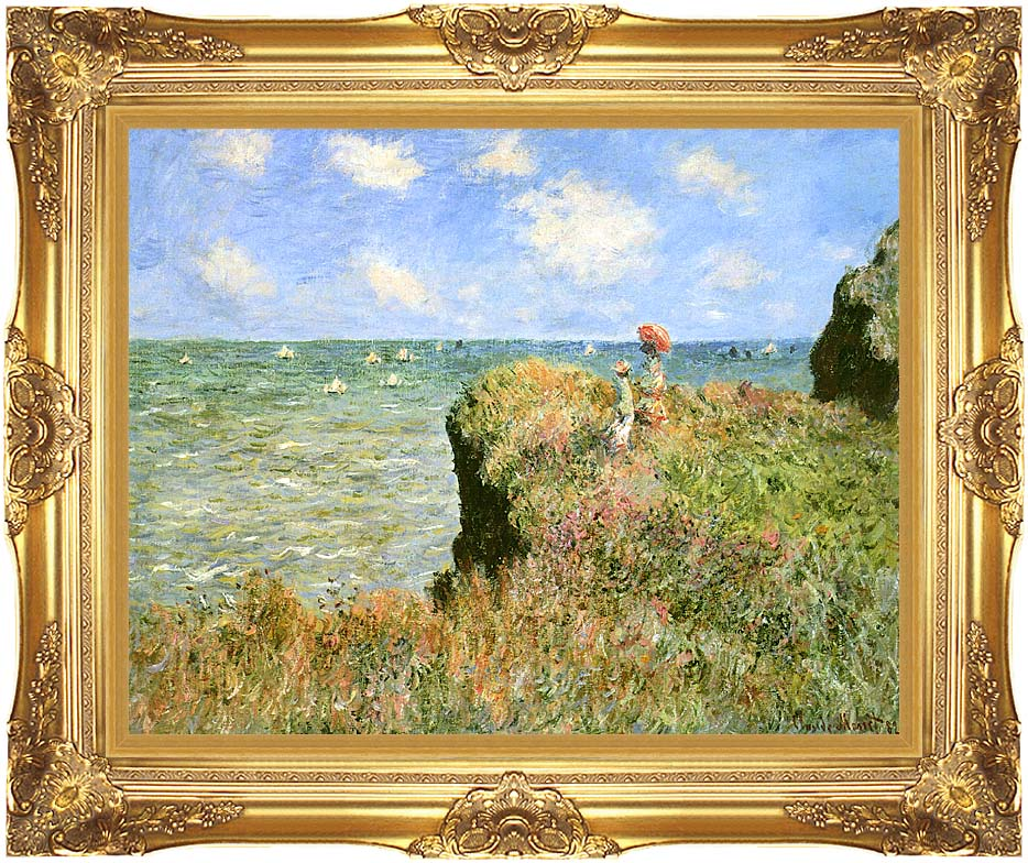 Claude Monet Walk on the Cliff at Pourville with Majestic Gold Frame