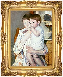 Mary Cassatt Baby On His Mothers Arm canvas with Majestic Gold frame