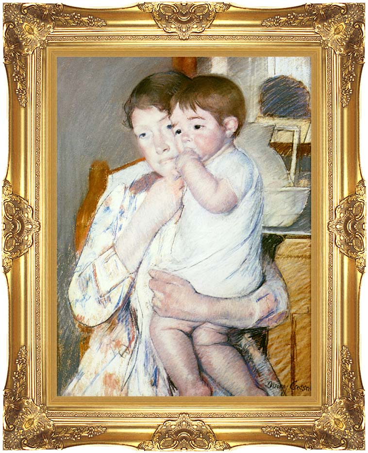 Mary Cassatt Baby on His Mother's Arm with Majestic Gold Frame