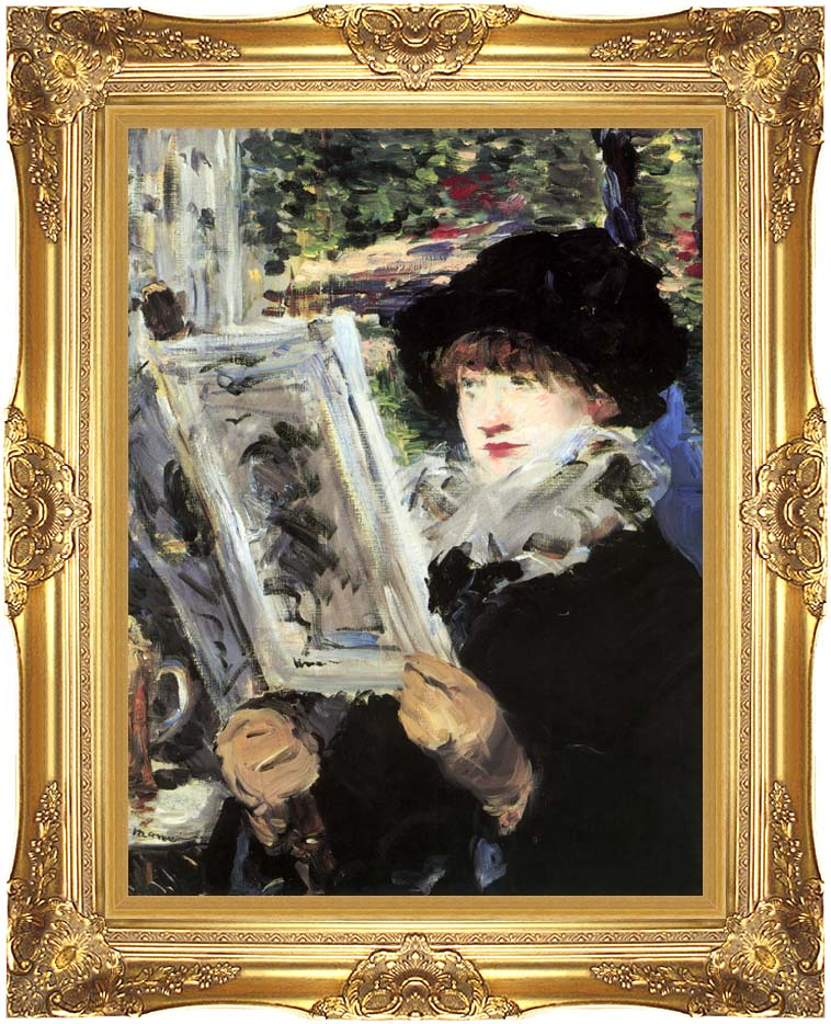 Edouard Manet The Reader with Majestic Gold Frame