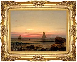 Martin Johnson Heade Sailing Off The Coast Detail canvas with Majestic Gold frame