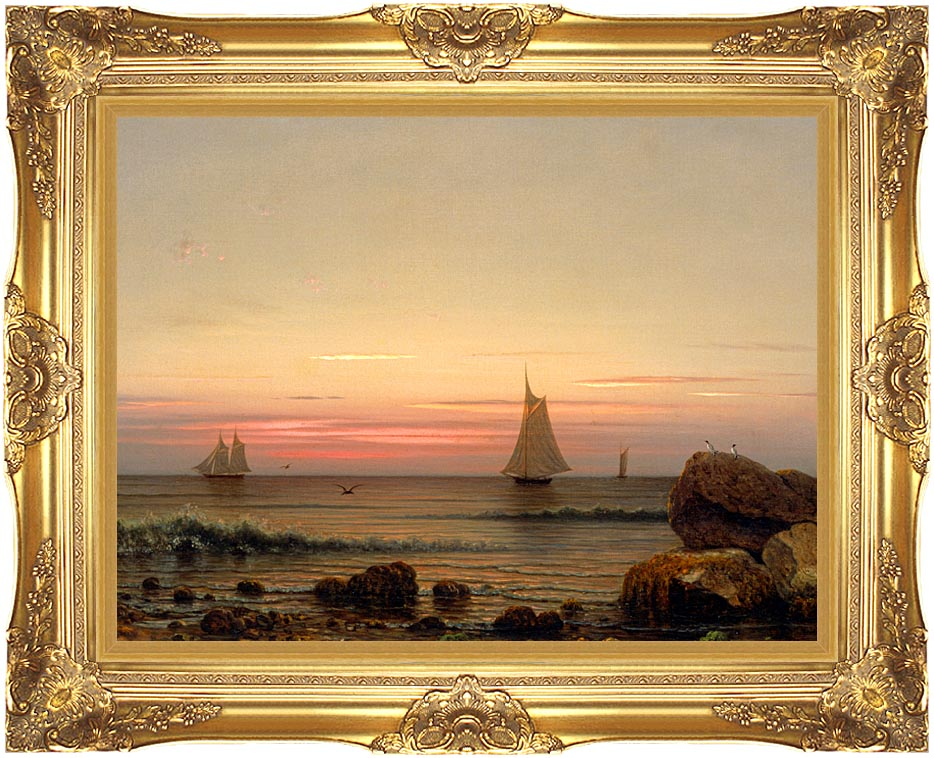 Martin Johnson Heade Sailing off the Coast (detail) with Majestic Gold Frame
