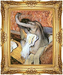 Edgar Degas After The Bath Woman Drying Herself canvas with Majestic Gold frame