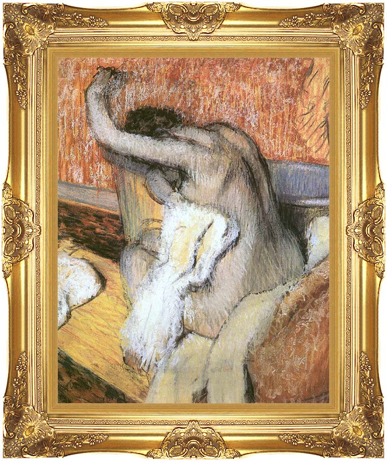 Edgar Degas After the Bath, Woman Drying Herself with Majestic Gold Frame