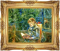 Berthe Morisot Little Girl Reading canvas with Majestic Gold frame