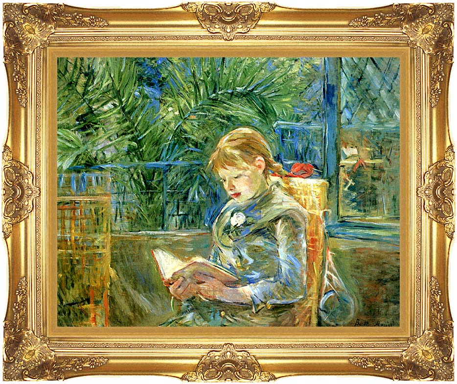 Berthe Morisot Little Girl Reading with Majestic Gold Frame