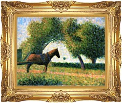 Georges Seurat Horse canvas with Majestic Gold frame