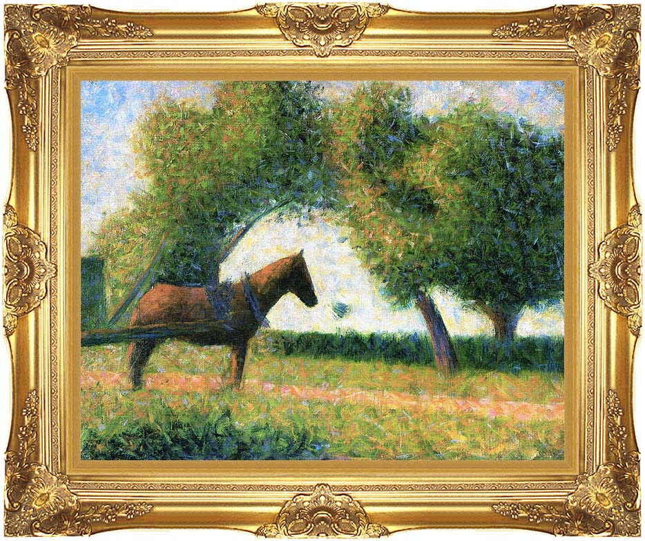Georges Seurat Horse with Majestic Gold Frame