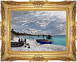 Claude Monet Beach At Sainte Adresse canvas with Majestic Gold frame