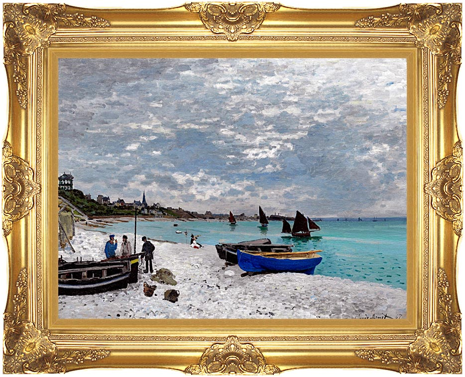 Claude Monet Beach at Sainte-Adresse with Majestic Gold Frame