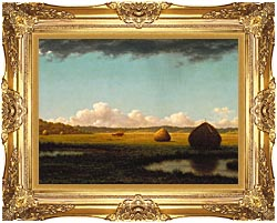 Martin Johnson Heade Summer Showers Detail canvas with Majestic Gold frame