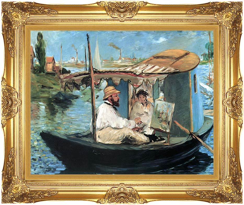 Edouard Manet Claude Monet in his Floating Studio with Majestic Gold Frame