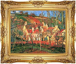 Camille Pissarro The Red Roofs canvas with Majestic Gold frame