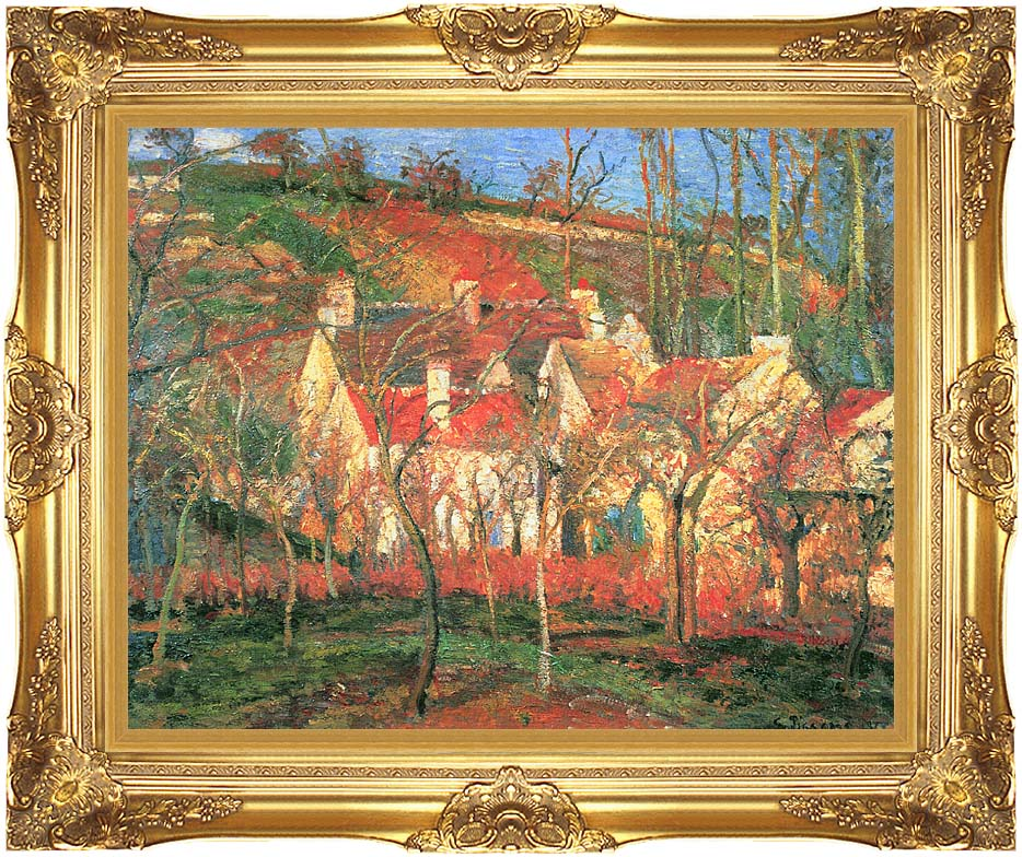 Camille Pissarro The Red Roofs with Majestic Gold Frame