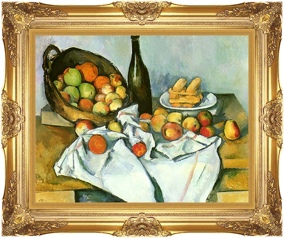 Paul Cezanne Basket of Apples with Majestic Gold Frame