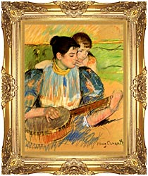 Mary Cassatt The Banjo Lesson canvas with Majestic Gold frame