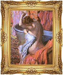 Edgar Degas Seated Bather Drying Herself canvas with Majestic Gold frame