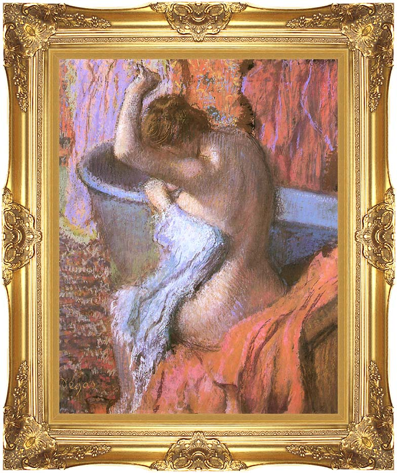 Edgar Degas Seated Bather Drying Herself with Majestic Gold Frame