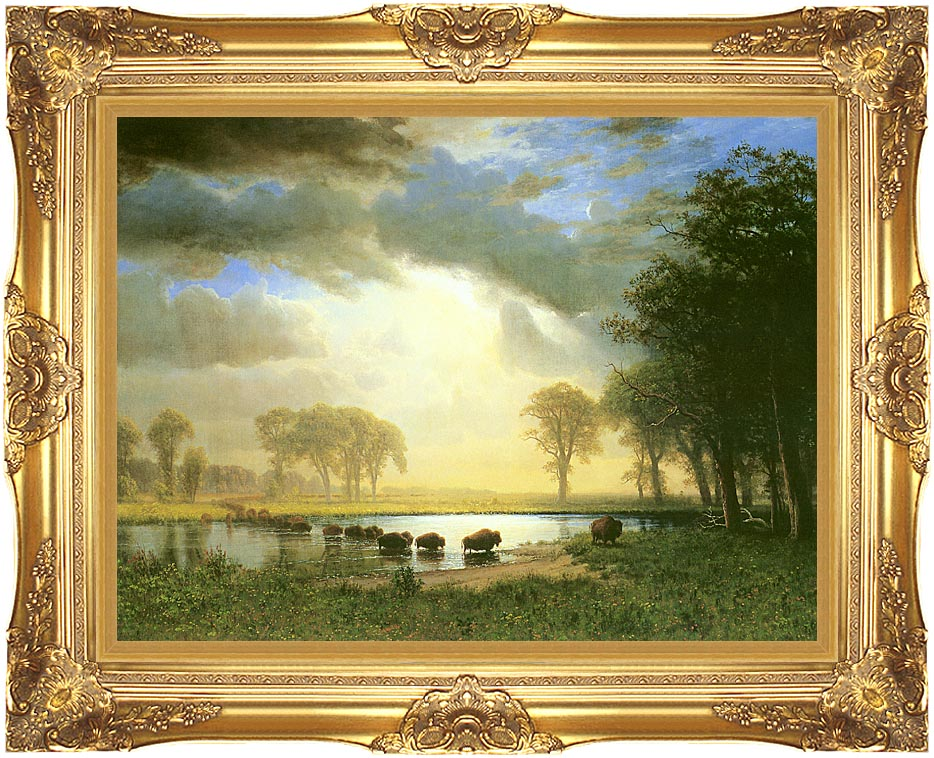 Albert Bierstadt The Buffalo Trail with Majestic Gold Frame