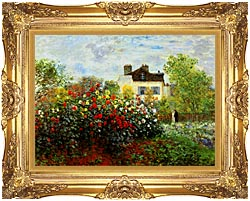 Claude Monet Monets Garden At Argenteuil canvas with Majestic Gold frame