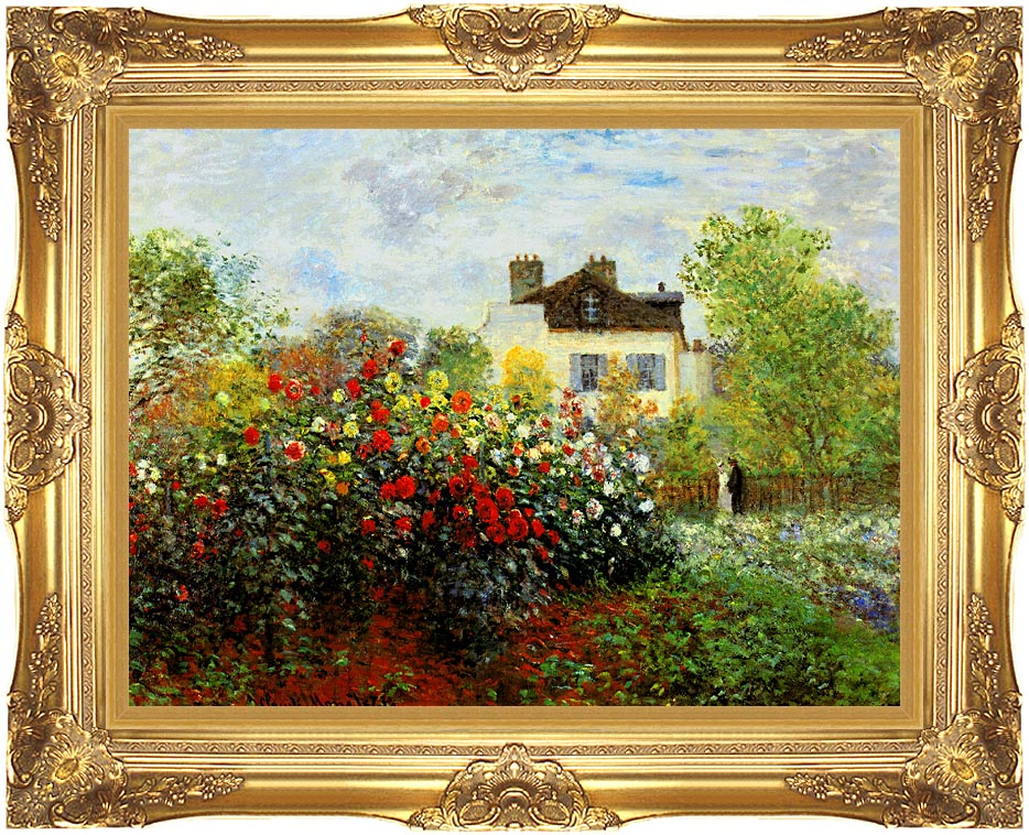 Claude Monet Monet's Garden at Argenteuil with Majestic Gold Frame