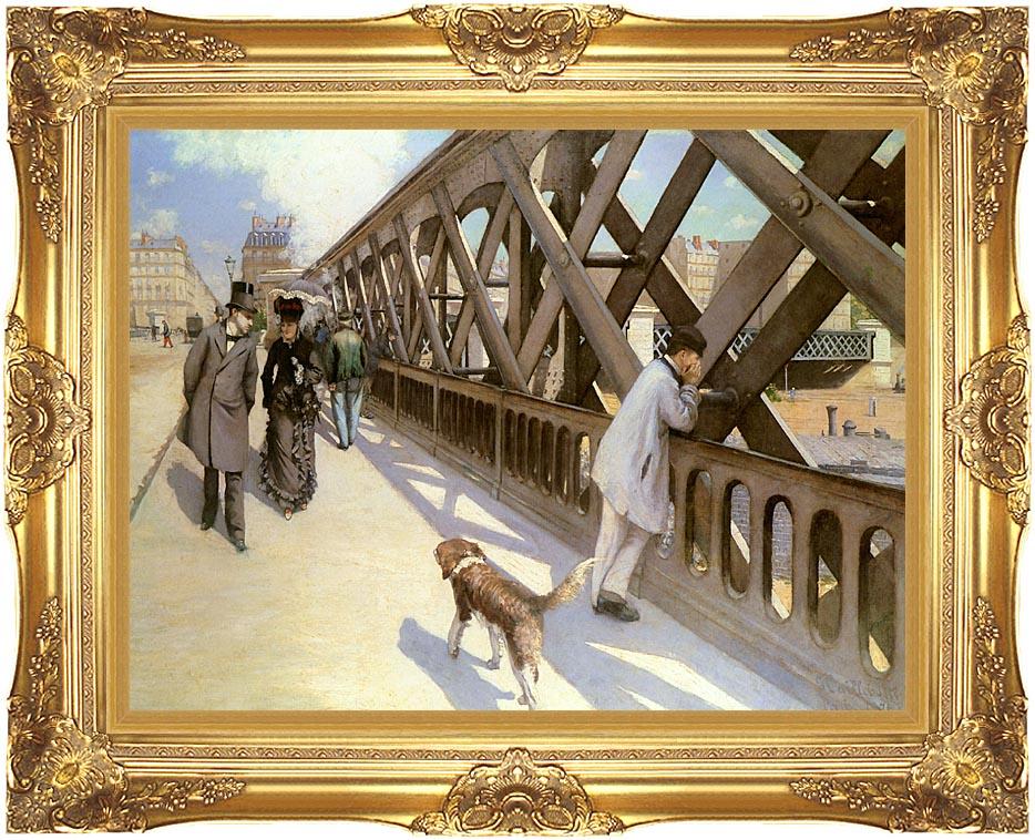 Gustave Caillebotte Le pont de l'Europe with Majestic Gold Frame