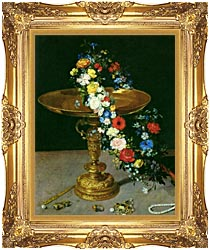 Jan Brueghel The Elder Gold Cup With Flower Wreath And Jewel Box Portrait Detail canvas with Majestic Gold frame