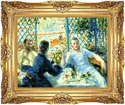Pierre Auguste Renoir The Canoeists Luncheon canvas with Majestic Gold frame