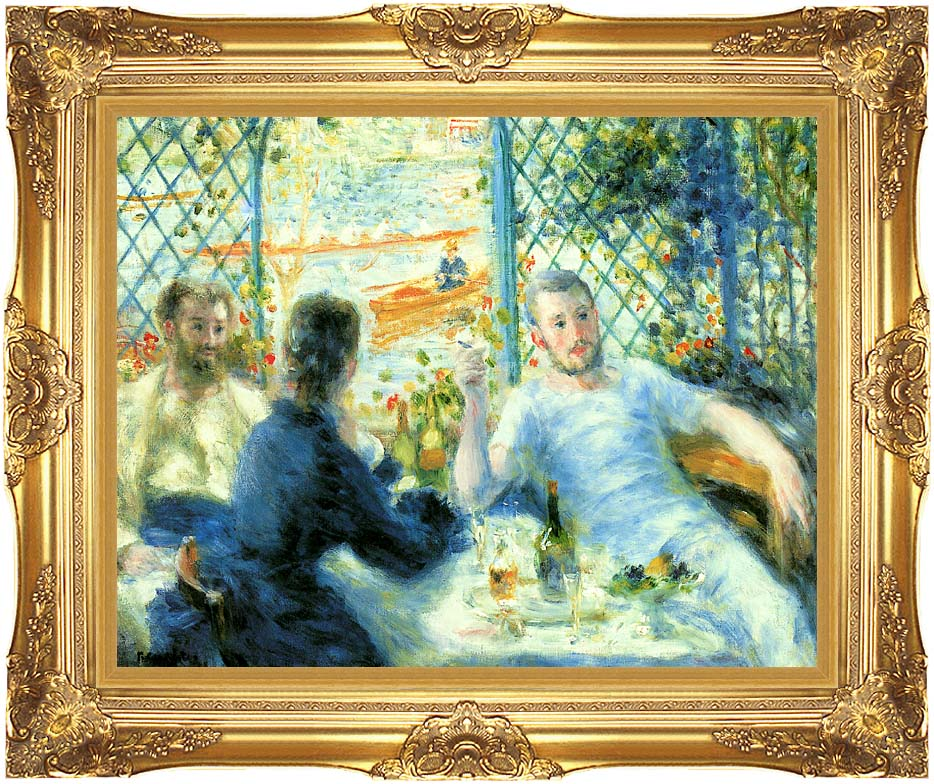 Pierre Auguste Renoir The Canoeist's Luncheon with Majestic Gold Frame