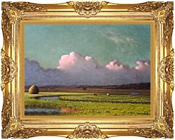 Martin Johnson Heade Sunlight And Shadow The Newbury Marshes Detail canvas with Majestic Gold frame