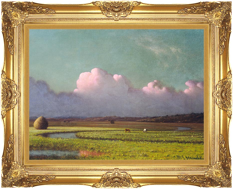Martin Johnson Heade Sunlight and Shadow, The Newbury Marshes (detail) with Majestic Gold Frame