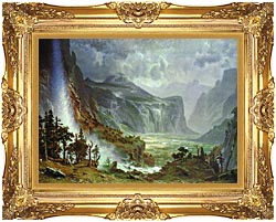 Albert Bierstadt The Domes Of The Yosemite canvas with Majestic Gold frame