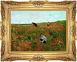 Mary Cassatt Poppies In A Field canvas with Majestic Gold frame