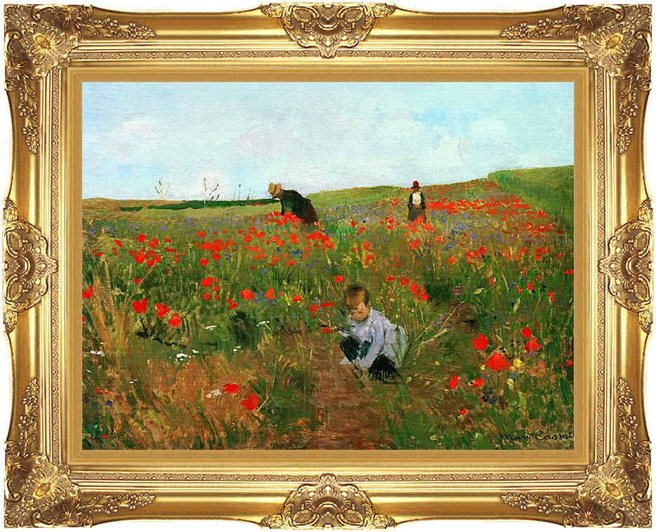 Mary Cassatt Poppies in a Field with Majestic Gold Frame
