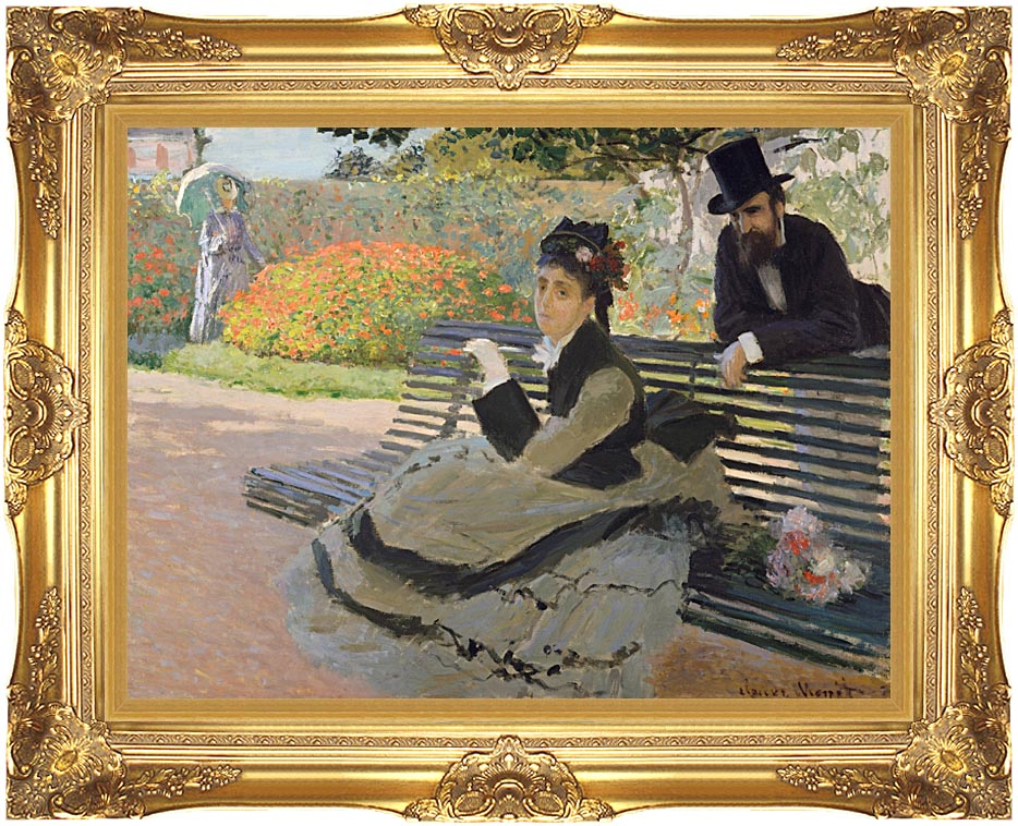 Claude Monet Camille Monet on a Garden Bench with Majestic Gold Frame