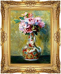Pierre Auguste Renoir Bouquet In A Vase canvas with Majestic Gold frame