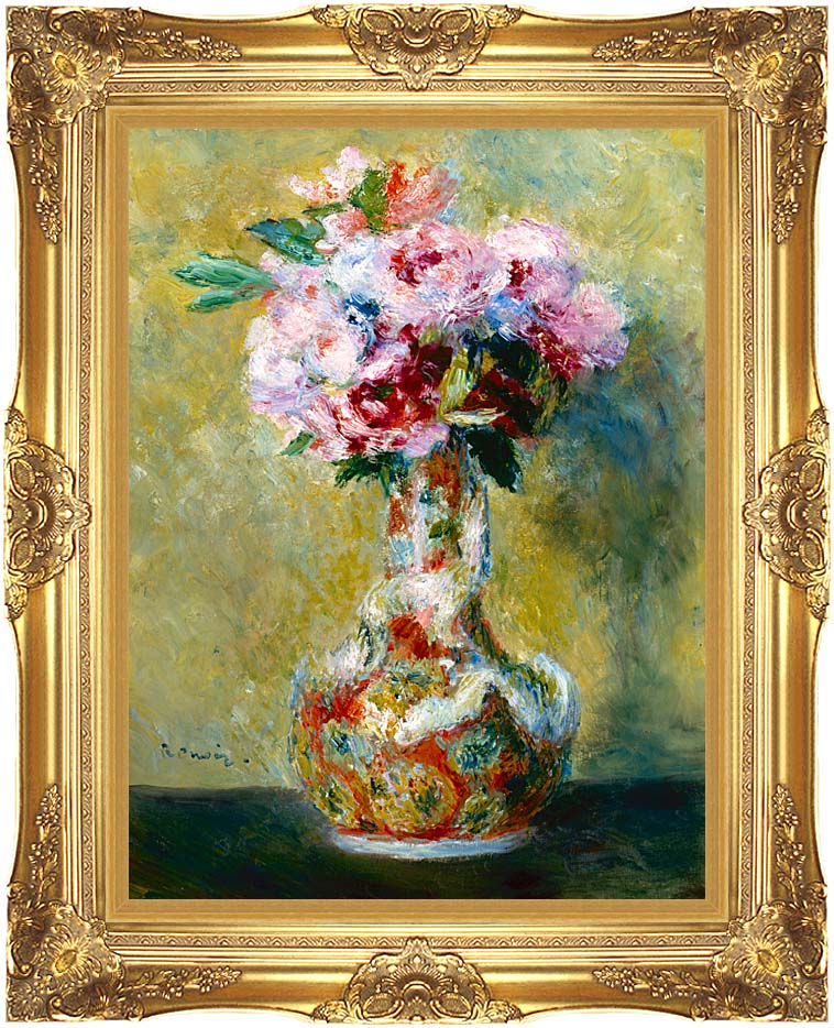 Pierre Auguste Renoir Bouquet in a Vase with Majestic Gold Frame