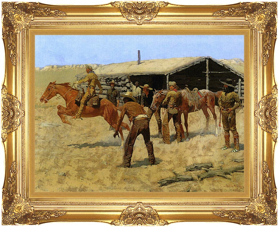Frederic Remington The Coming and Going of the Pony Express with Majestic Gold Frame