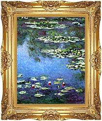 Claude Monet Water Lilies 1906 Portrait Detail canvas with Majestic Gold frame