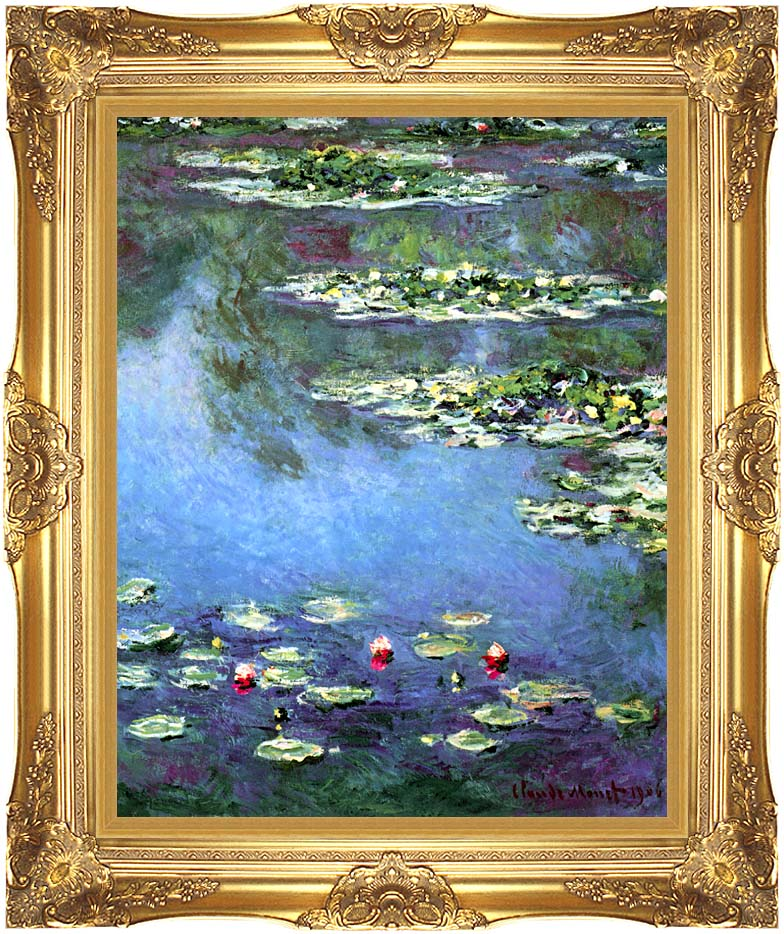 Claude Monet Water Lilies 1906 (portrait detail) with Majestic Gold Frame