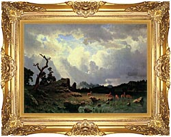 Albert Bierstadt Thunderstorm In The Rocky Mountains canvas with Majestic Gold frame