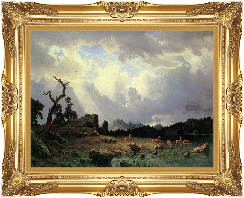 Albert Bierstadt Thunderstorm in the Rocky Mountains with Majestic Gold Frame