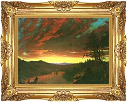 Frederic Edwin Church Twilight In The Wilderness Detail canvas with Majestic Gold frame