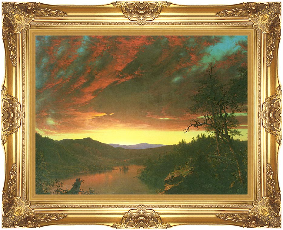 Frederic Edwin Church Twilight in the Wilderness (detail) with Majestic Gold Frame