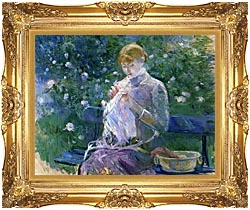 Berthe Morisot Pasie Sewing In The Garden At Bougival canvas with Majestic Gold frame