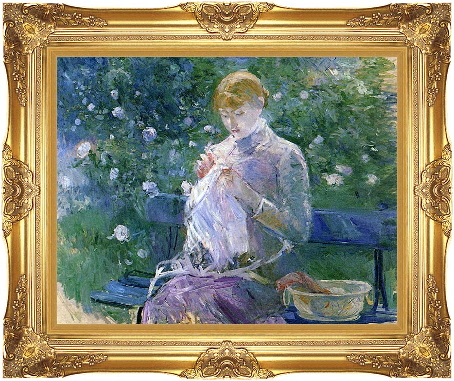 Berthe Morisot Pasie Sewing in the Garden at Bougival with Majestic Gold Frame