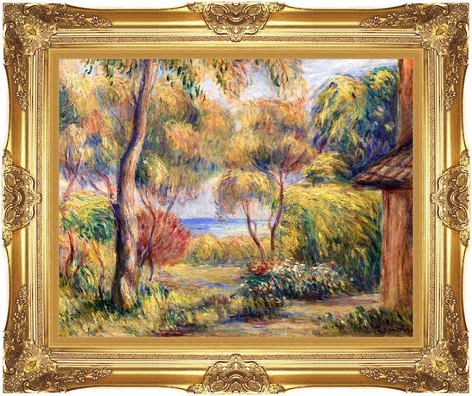 Pierre Auguste Renoir Landscape at Cagnes with Majestic Gold Frame